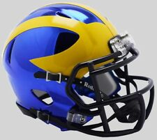 MICHIGAN WOLVERINES NCAA Riddell SPEED Mini Football Helmet CHROME