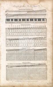 ANTIQUE MUSIC Print - Principles of Music - Original 1791 Engraving #B872