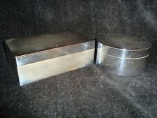 Pair of Vintage Silver or Chrome Plate Boxes marked Hermes Paris