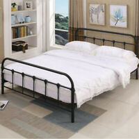 Full Size Metal Platform Bed Frame with Headboard and Footboard black fast ship