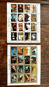 UAE - AJMAN 1973 MICROSTAMPS WILD ANIMALS AND FAMOUS MEN MINISHEETS