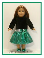 Black Velvet Shiny Green Party Dress American Girl Doll