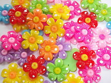 30 x 3D flower cabochons, card making, Scrapbooking,
