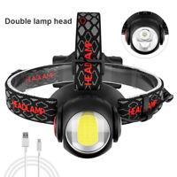 COB T6 LED Headlamp 18650 Headlight Double Head Lamp Torch 360 rotate Flashlight