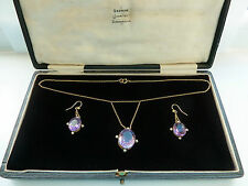 Antique Arts & Crafts Amethyst Pearl 9ct Gold Necklace & Earring Set C.1900