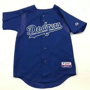 VINTAGE Majestic Los Angles Dodgers Baseball Jersey Youth Size 10 - 12 Blue MLB