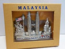 Kuala Lumpur Malaysia Business Card Letter Holder Silver Tone Collectible