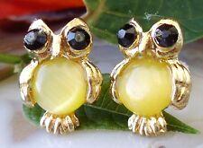 Ohrstecker Eule gelb gold vergoldet mit gelbem Cat Eye Katzenauge Ohrring Vogel