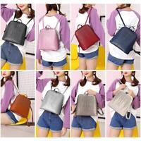 Women Leather Rivet Backpack Rucksack Girls Large Capacity Shoulder School Bag