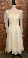 Vintage MUSTARD SEED Dress Womens Party White Wedding Lace Long Sleeve Sz 5 / 6