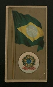 1895 NATIONAL FLAGS AND ARMS AMERICAN TOBACCO CO CIGARETTE CARD BRAZIL