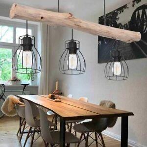 Vintage Design Pendel Decken Lampe Holz Balken Wohn Zimmer Gitter Hänge Leuchte