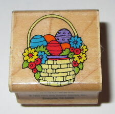 Easter Basket Rubber Stamps Eggs Flowers Spring A444 Hero Arts Retired EUC