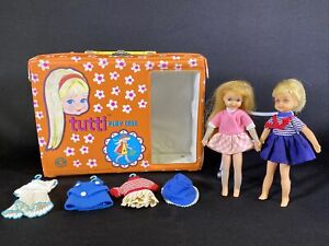 Vintage 1965 Tutti Dolls w/ Play Case + Extra Outfits Barbie by Mattel