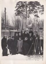 1967 People men women Lenin monument in winter sanatorium Soviet Russian photo
