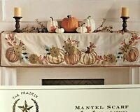 The Prairie Floral Beaded Fireplace Mantel Scarf Linen Thanksgiving Pumpkin