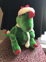 RARE Jinglesaurus Christmas Dinosaur Plush Stuffed Green Red Striped Scarf Used