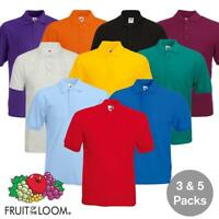 3 & 5 Pack Mens Fruit Of The Loom 65/35 Polo Shirts Plain Unisex Men Tee T Shirt