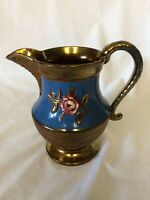 Antique Copper Lusterware 6 1/4 Inch Pitcher Blue Band Luster Lustre Very Pretty