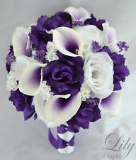 17 Piece Package Silk Flower Wedding Bridal Bouquet Picasso Calla Lily PURPLE