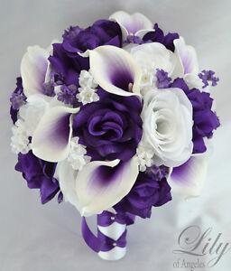 artificial flower wedding bridal bouquet purple white rose calla belloon