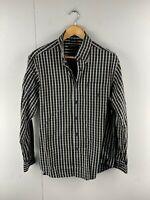 Nautica Mens Vintage Long Sleeve Button Up Shirt Size Medium Black Check