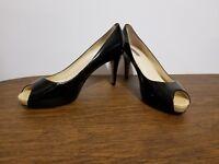 Tahari Regal Patent Leather Peep Toe Heels Size 7.5 Black Womens Shoes