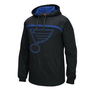 St. Louis Blues Reebok Cross Check Team Logo Black Pullover Hoodie Men's