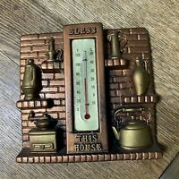 VINTAGE MILLER STUDIO CHALKWARE WALL THERMOMETER FIREPLACE Bless This House