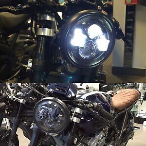 """Motorbike Cafe Racer Cree LED Headlight Black 7"""" Inch DOT SAE E Marked UK EU US"""