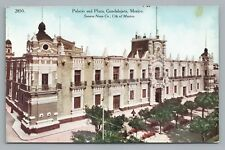 Plaza & Palacio GUADALAJARA Sonoro News Co—Antique PC Tarjeta 1910s