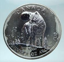 2011 CANADA UK Queen Elizabeth II Wolf & Moon 1 OZ Genuine Silver $5 Coin i79091