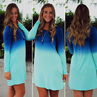 Womens Dip Dye Long Sleeve Mini Tunic Dress Casual Beach Loose Long Tops T-Shirt