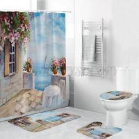 4X Print Pedestal Rug+Lid Toilet Cover+Bath Mat+Shower Curtain Set With 12 Hooks