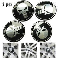 Universal 4pcs 65mm Punisher Logo Car Wheel Center Hub Cap Emblem Badge Stickers
