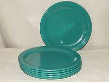 "Texas Ware Melmac Teal 10 1/4"" Dinner Plate Set of 6 - Nice Gently Used"