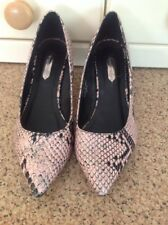 DOROTHY PERKINS PINK SNAKESKIN PRINT POINTED COURT SHOES UK SIZE 5 WORN TWICE