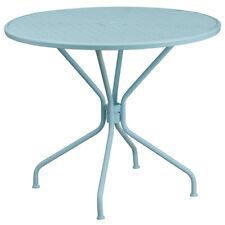 35.25'' Round Indoor-Outdoor Restaurant Patio Table in Sky Blue Steel Metal