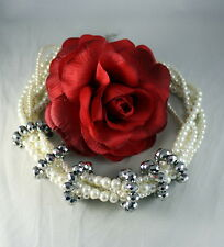 """Beaded 23"""" Necklace Cat Rescue Gorgeous 6 Strand Faux Pearl"""