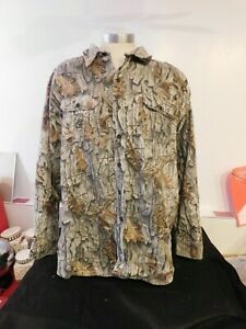 Cabela's Camouflage Oak Country Long Sleeve Camo Shirt Size 3XL Made in USA