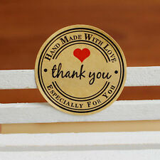 Round Paper Labels 'Thank you, Hand made with love' Gift Food Craft Stickers