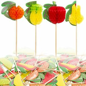 Paper Fruit Cocktail Picks Drinks Snack Skewers Party Sticks Decorations Canapes