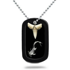 Real Shark Tooth Necklace Aluminum Dog Tag with Engraved Hammerhead Design-AN109