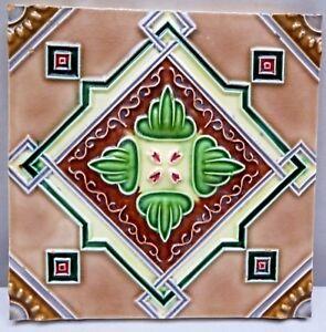 VINTAGE TILE ART NOUVEAU MAJOLICA GEOMETRIC DESIGN ARCHITECTURE COLLECTIBLES
