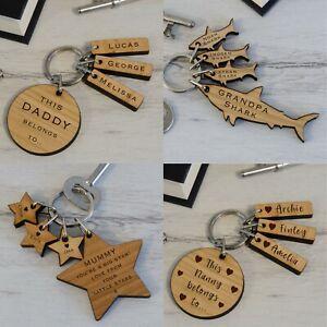 Personalised Key Rings Parent & Children Grandparent & Grandchildren Family Gift