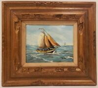 "Oil Painting on Board Sailboat Seascape Signed Framed Art  (16.5"" x 18.5"")"