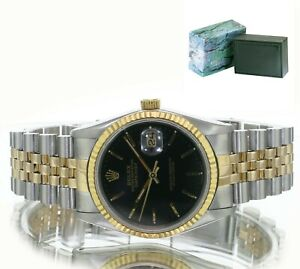 Rolex Mens Datejust  Gold and Steel Black  Stick Dial 36mm With Box