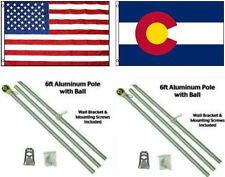 3x5 USA American & State of Colorado Flag Aluminum Pole Kit Ball Top 3'x5'