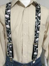 "New, Men's, Lightning & Skulls on Black, XL, 2 "", Suspenders / Braces, USA"