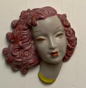 Goldscheider, Art Deco, Face Mask. Wall. Plum hair.